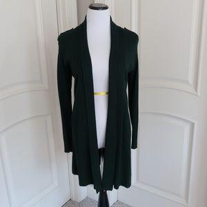 WHBM Long open front emerald green cardigan  XS